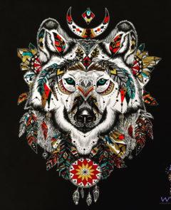 Coloriage animal totem loup
