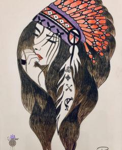 dessin femme chamane
